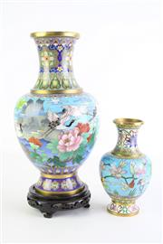 Sale 8840 - Lot 8 - Two Cloisonne Vases One with Stand (H 27cm and 16cm, Some ware and Dents Apparent)