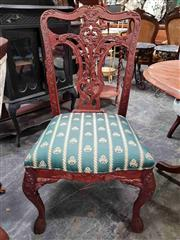 Sale 8925 - Lot 1092 - A pair of chippendale style dining chairs with british racing green upholstery