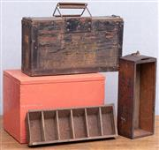 Sale 9026 - Lot 1020 - A small timber black painted ammunition box together with an orange painted timber hinged box, a timber case and a coin tray