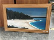 Sale 9024 - Lot 2075 - Roy Shute Greenfields Beach, Vincentia Jervis Bay oil on board 43 x 71cm (frame) signed verso