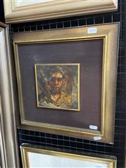 Sale 9028 - Lot 2018 - Artist Unknown Portrait of a Young Boy, oil and resin on board . frame: 38 x 37 cm, inscribed indistinctly lower right