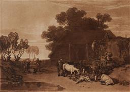 Sale 9125 - Lot 532 - J M W Turner (1775 - 1851) The Straw Yard etching 18 x 25 cm (frame: 38 x 46 x 2 cm) published by C. Turner, London, 1808. Provenanc...