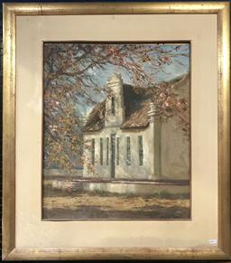 Sale 9111 - Lot 2041 - Ted Dyer The White Cottage and Pink Magnolias oil on board 88 x 76cm, signed lower right