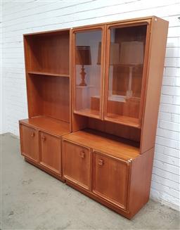 Sale 9129 - Lot 1009 - Teak 4 piece wall unit (h:180 w:185 d:54cm)