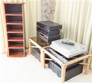 Sale 8346A - Lot 95 - A Yamaha CD player, Pioneer amp, set decks and Hitachi record player ensemble and CD stand
