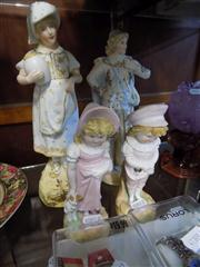 Sale 8365 - Lot 42 - Bisque Porcelain of Children with Pets with 2 Other Bisque Figures (the ladys fingers AF)