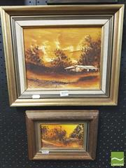 Sale 8413T - Lot 2059 - Jim Crofts (XX) (2 works) - Australian Bush Scene with Shack 19 x 24cm; 9 x 14cm