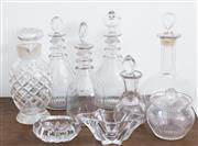 Sale 8440A - Lot 29 - A group of glasswares including decanters, stoppered bottles etc, tallest H 22cm