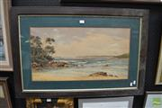 Sale 8487 - Lot 2005 - Gladstone Eyre (1863 - 1933) Beachscape, watercolour (AF), 34 x 64cm, signed lower right
