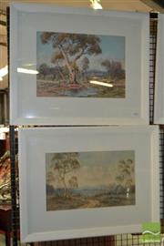 Sale 8503 - Lot 2100 - Lionel David (2 works) - Australian Bushscapes, c1910 - c1920s 26 x 37cm, each (frame size: 48.5 x 58.5cm, each )