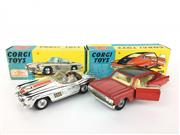 Sale 8559A - Lot 58 - Corgi No.263 Marlin Rambler Sport Fastback - Red Body and Corgi No.303S Mercedes 300SL Open Roadster - Chrome Body