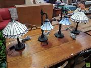Sale 8601 - Lot 1478 - Two Pairs of Leadlight Table Lamps