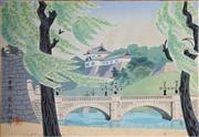Sale 8657A - Lot 5060 - Tokuriki Tomikichiro (1902 - 1999) - Nijubashimae Bridge, Tokyo, Japan, c1950 26 x 38.5cm