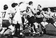 Sale 8754A - Lot 34 - Australia vs France Test Match, Stade de Columbes, France, 11 February 1967 - Arnaldo Gruarin (#1), Peter Johnson (#27) John Thornet...