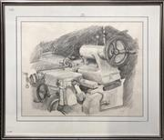 Sale 8759 - Lot 2034 - Val Landa (1940 - ) - Industrial Still Life pencil on paper, 71.5 x 84cm (frame) signed and dated lower right -