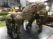 Sale 8805 - Lot 1038 - Pair of Copper Clad Middle Eastern Elephants