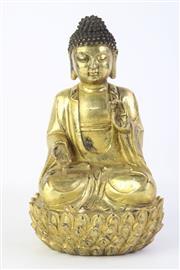 Sale 8815C - Lot 20 - Chinese Gilt Bronze Figure of Buddha Shakyamuni on Lotus Pedestal (H 24cm)