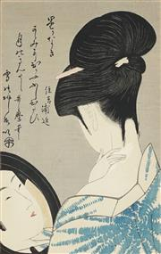 Sale 8836 - Lot 2012 - After Kitagawa Utamaro (1853 - 1806) - Girl Powdering her Neck 28.5 x 19cm