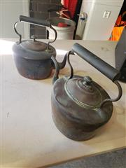 Sale 9026 - Lot 1041 - Pair Of Vintage Copper Kettles