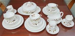 Sale 9098H - Lot 74 - A Wedgwood dinner service for six in the Wakefield pattern comprising a tureen and platter, a sauceboat and tray, soup, bread, entre...
