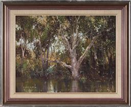 Sale 9125A - Lot 5084 - Allan Waite (1924 - 2010) - Paper Bark Swamp Ku-ring-gai 34 x 44 cm (frame: 47 x 57 x 4 cm)