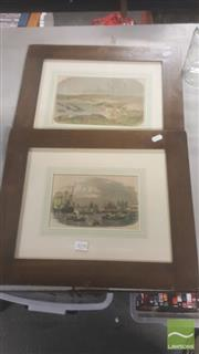 Sale 8446 - Lot 2090 - 2 Framed Engravings depicting Port Scenes, one entitled Porto di Londra