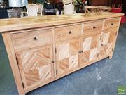 Sale 8480 - Lot 1009 - Oak Parquetry 4 Door, 4 Drawer Sideboard