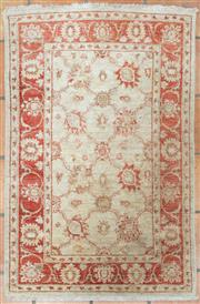 Sale 8550H - Lot 3 - A small Chobi carpet with ivory ground and red border in a foliate design, L 152 x W 100cm