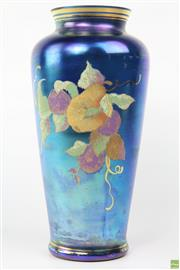 Sale 8594 - Lot 70 - Fenton Hand Painted Pear Vase, Dated and Signed Limited Edition