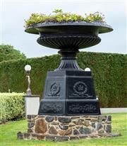 Sale 8677A - Lot 23 - Monumental Cast Iron black urn H x approx 190, W approx 180cm