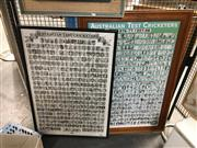Sale 8752 - Lot 2085 - 2 Framed Posters of Test Cricket Personalities