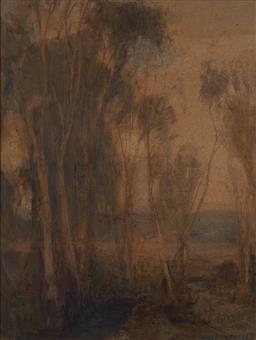 Sale 9125 - Lot 526 - Hans Heysen (1877 - 1978) Landscape watercolour on paper 30.5 x 23 cm (frame: 59 x 49 x 2 cm) signed lower right