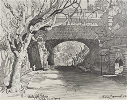 Sale 9125A - Lot 5080 - Cedric Emanuel (1906 - 1995) - The Argyle Cut in the Rocks 1843, 1981 22.5 x 29 cm (frame: 43 x 50 x 2 cm)