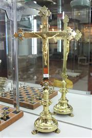 Sale 8327 - Lot 51 - Vintage Brass Crucifix Set with Stones & on Paw Feet