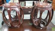 Sale 8402 - Lot 1007 - Pair of Chinese Rosewood Pierced Drum Stools