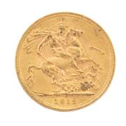 Sale 8855H - Lot 61 - 1912 gold sovereign weight approx 7.95g
