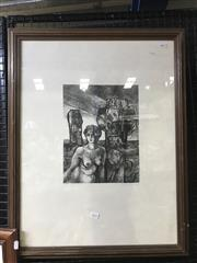 Sale 8981 - Lot 2032 - An original etching depicting a Dreamscape, 72 x 57cm (frame) signed
