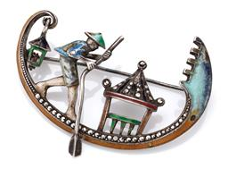 Sale 9107J - Lot 342 - A VINTAGE ENAMELLED SILVER AND MARCASITE BROOCH; fashioned as a gondola and set with marcasites and coloured enamel (some losses), l...
