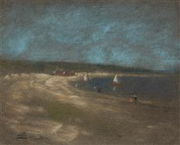 Sale 9125 - Lot 530 - Walter Withers (1854 - 1914) On the Beach pastel 23.5 x 29.5 cm (frame: 49 x 53 x 3 cm) signed lower left