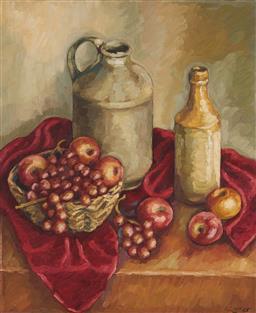 Sale 9125A - Lot 5082 - Irina Little - Still Life with Jugs & Fruit 60 x 50 cm (frame: 76 x 66 x 4 cm)