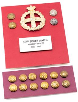 Sale 9190E - Lot 26 - A collection of NSW military force buttons and badge