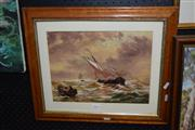 Sale 8410T - Lot 2055 - Watercolour Sailing Boats signed KT & dated 1874 in pencil 27x35.5cm