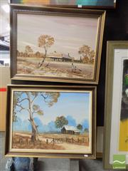 Sale 8513 - Lot 2031 - John John (2 works) Farmyard Scenes, oils on board, each 45 x 60cm and signed lower