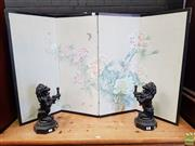 Sale 8598 - Lot 1060 - Small Chinese Four Panel Screen, painted with branching peonies & insects