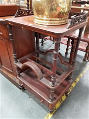 Sale 8697 - Lot 1048 - Victorian Walnut & Marquetry Whatnot Canterbury, with pierced gallery back to shelf, on turned supports with dividers below & a drawer