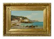 Sale 8960J - Lot 10 - Italian 19th Century Fishermen signed lower left oil on panel 23 x 35 cm in fine gilt frame.
