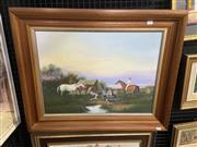 Sale 9004 - Lot 2032 - John Hanson Drovers Camp, oil on canvas board, 64 x 79 cm,
