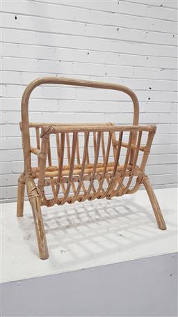 Sale 9157 - Lot 1035 - Bent cane magazine rack (h:57 w:50 d:35cm)