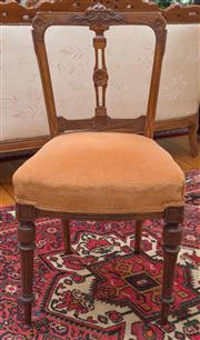 Sale 8435A - Lot 10 - A Victorian walnut carved chair with velvet upholstered seat, H of back 88cm