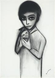 Sale 8519 - Lot 542 - Robert Dickerson (1924 - 2015) - Child with Cat 75 x 53cm